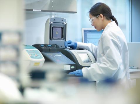 clinician checking equipment